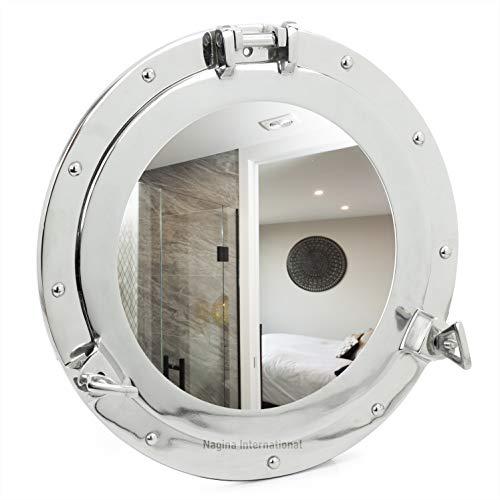 Ojo de buey con el espejo, marítimo Espejo de pared, Aluminio cepillado y bruñido