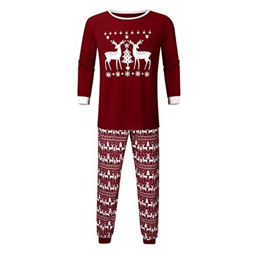 Moneycom: Costumes de Navidad del Año Nuevo Top de ciervo + pantalón de blusa conjunto de traje de Xmas de Pijamas Familiares, traje de familia para padres e hijos ropa del vino Homme X-Large