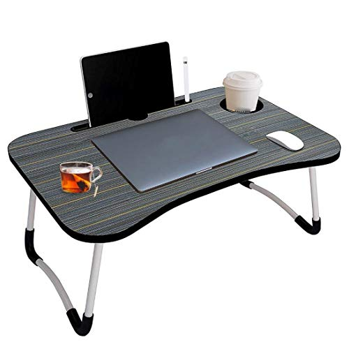 COLLABRAINS ENTERPRISE Multipurpose Foldable Laptop Table with Cup Holder, Study Table, Bed Table, Breakfast Table, Foldable and Portable/Ergonomic & Rounded Edges/Non-Slip Legs (Black)