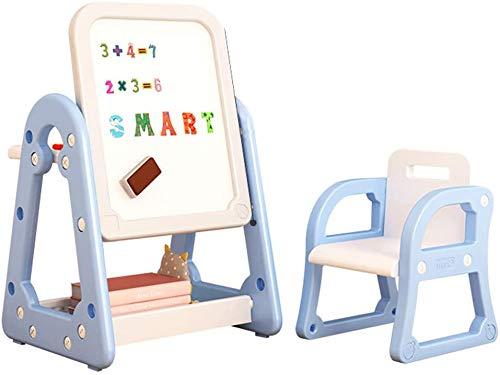 Arkmiido Juego de Mesa y Silla para niños, Mesa de Aprendizaje de Altura Ajustable para niños, Caballete de Arte para niños pequeños con Pizarra de borrado en seco para niños y niñas