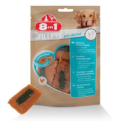 8in1 Fillet Pro Dental Friandises pour chiens adultes et seniors de grandes races – Pour une haleine fraîche – Au poulet – 80g