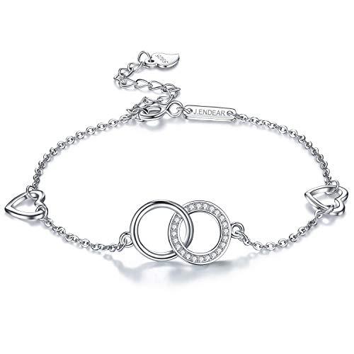 J.Endéar Fußkettchen Silber 925 Damen Süße Doppel Ring mit Herz 22+4cm Verstellbare Fußkette für Kleid Geburtstag Geschenk