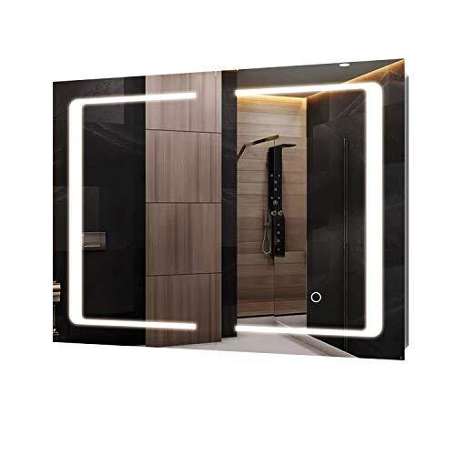 Blackzebra Armadietto Specchio da Bagno Illuminazione LED Sensore Tattile Specchio Contenitore 2 Ante Ripiani interiori Mobiletto da Muro Acciaio Inox 80 x 13 x 60cm