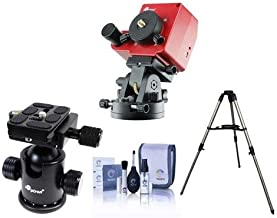 iOptron SkyTracker Pro Camera Mount with Polar Scope, Mount Only - Bundle SkyTracker Ball Head v2, Stainless Steel Tripod, Cleaning Kit
