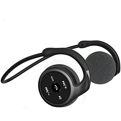 Auriculares Bluetooth 4.1, 3-en 1 Estéreo Auricular Deportivo, Auriculares Inalámbricos con Micrófono, Soporte Tarjeta TF Jugar (32 G) y Radio FM, Cascos Plegable Utilizado para Smartphones (Negro)
