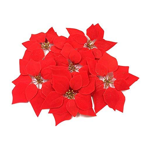 WEKNOWU Paquete de 30 Adornos de Navidad de Flores Artificiales de Pascua Rojas, decoración de árbol de Navidad,...