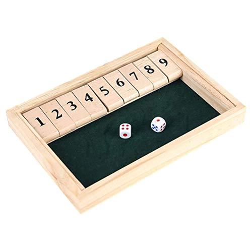 NANUNU Juego de dados de caja cerrada para 2 jugadores, tablero de madera para niños y adultos, juegos de entretenimiento, portátil excelente tarjeta digital juguetes, juguetes para niños