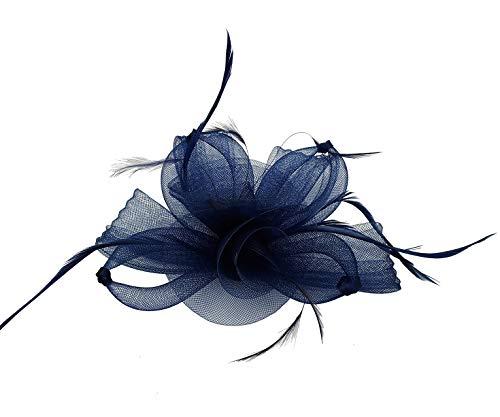 Finecy In Petite Fleur Plume Chapeau Cheveux Chapeau Bibi Bandeau Clip Mariage Royal Ascot Race - Bleu - Medium