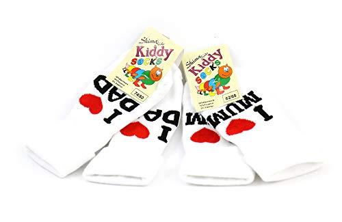 Shimasocks Baby Vollplüsch Söckchen 'I love mum/dad' in weiß mit Herzchen Neugeborenes Babysöckchen, Größe:50/56, Farben alle:I love Mum