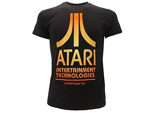 Atari T-Shirt Original Distressed Logo Vintage T-Shirt Konsole Videogame Originalprodukt Schild und Etikett, Schwarz Medium