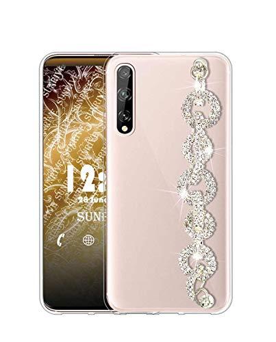 Sunrive Kompatibel mit LG Velvet 5G Hülle Silikon,Handykette Glitzer Diamant Strass Handyhülle Transparent Schutzhülle Etui Kette Hülle Backcover Handschlaufe(Ring) MEHRWEG
