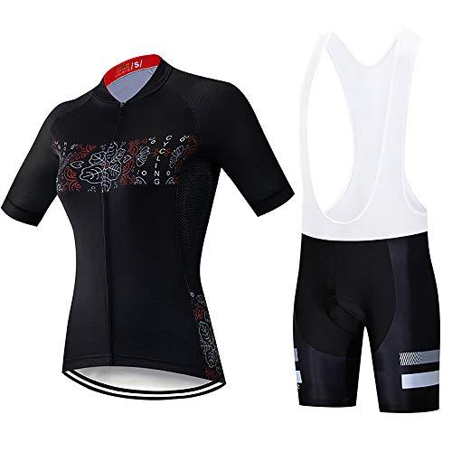 QWWQ Femme Combinaison Cycliste Maillot Manches Courtes+9D Gel Dous-Vêtements Rembourrés Cuissard à Bretelle Vélo VTT Vêtements Cycliste
