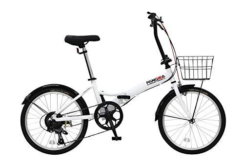 PANGAEA(パンゲア) AL-FDB206-NP TOUGH Evo. 軽量アルミフレーム パンクしない折りたたみ自転車 20インチ ホワイト ノーパンクタイヤ 6段変速 泥除け付き 94203-1299