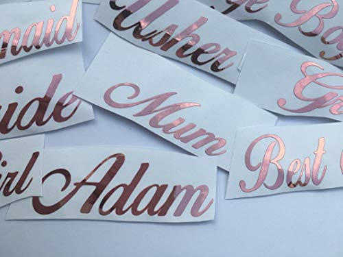 CCG ROSE GOLD Name Sticker Vinyl Decal Baubles Wine Glass Hen Wedding Personalised