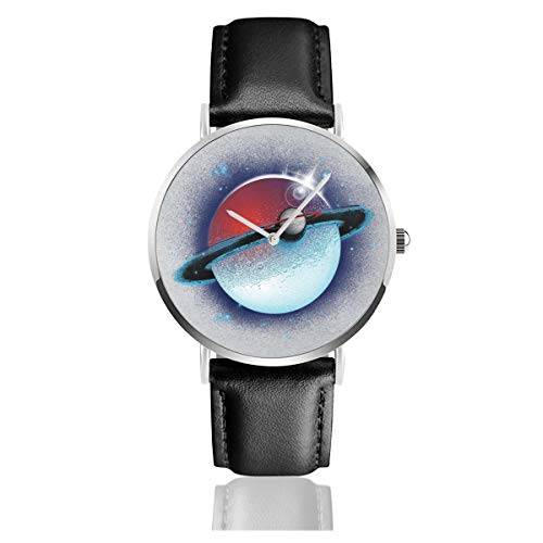 Unisex Business Casual Monster of The Pocket Planet Saturn Uhren Quarz Leder Armbanduhr mit schwarzem Lederband für Männer Frauen Junge Kollektion Geschenk