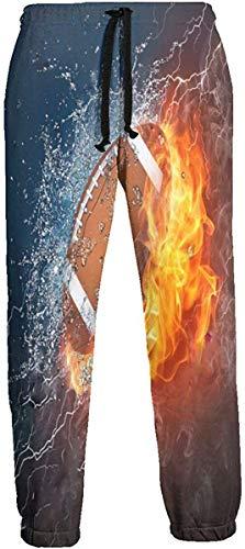 Cute Bi American Football in Feuer und Wasser Jogginghose Athletic Jogger Pant Athletic Pant Laufhose für Herren M
