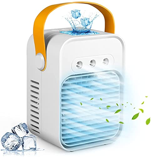 ac unit for bedrooms Personal Air Cooler, AC-200A USB Air Conditioner Fan with 3-Speed, Mini Air Conditioner Desk Fan with Handle for Small Room/Office/Dorm/Bedroom