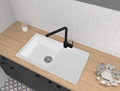 respekta DENVER78X44W - Fregadero (60 % material compuesto de minerales y fibra de vidrio, 40 % resina sintética, 78 x 44 cm), color blanco