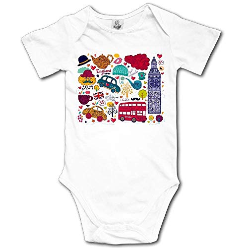 sunminey Vêtements bébé Baby Bodysuit England Travel Short Sleeves Triangle Romper Bodysuit Outfits Infant Toddler Clothes