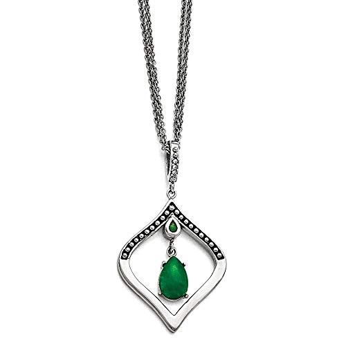 Stain.steel poli/Antiqued CZ synthétique Jade teintée avec 21 Ext.-JewelryWeb collier 18 pouces