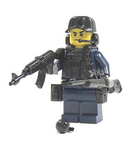 Markenwelt-Voegele Polizist Spezialeinheit aus Lego® Teilen mit Custom Zubehör mit Waffe blau schwarz