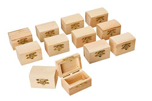 Juvale Mini-Schatzkiste aus Holz (Set, 12 Stück) - Unlackiert, mit Verschluss - Mini-Schatztruhe - Ideal als Party-Geschenke, Heimdekoration, Requisiten, zum Basteln - Naturbraun, 5,8 x 3,8 x 3,8 cm