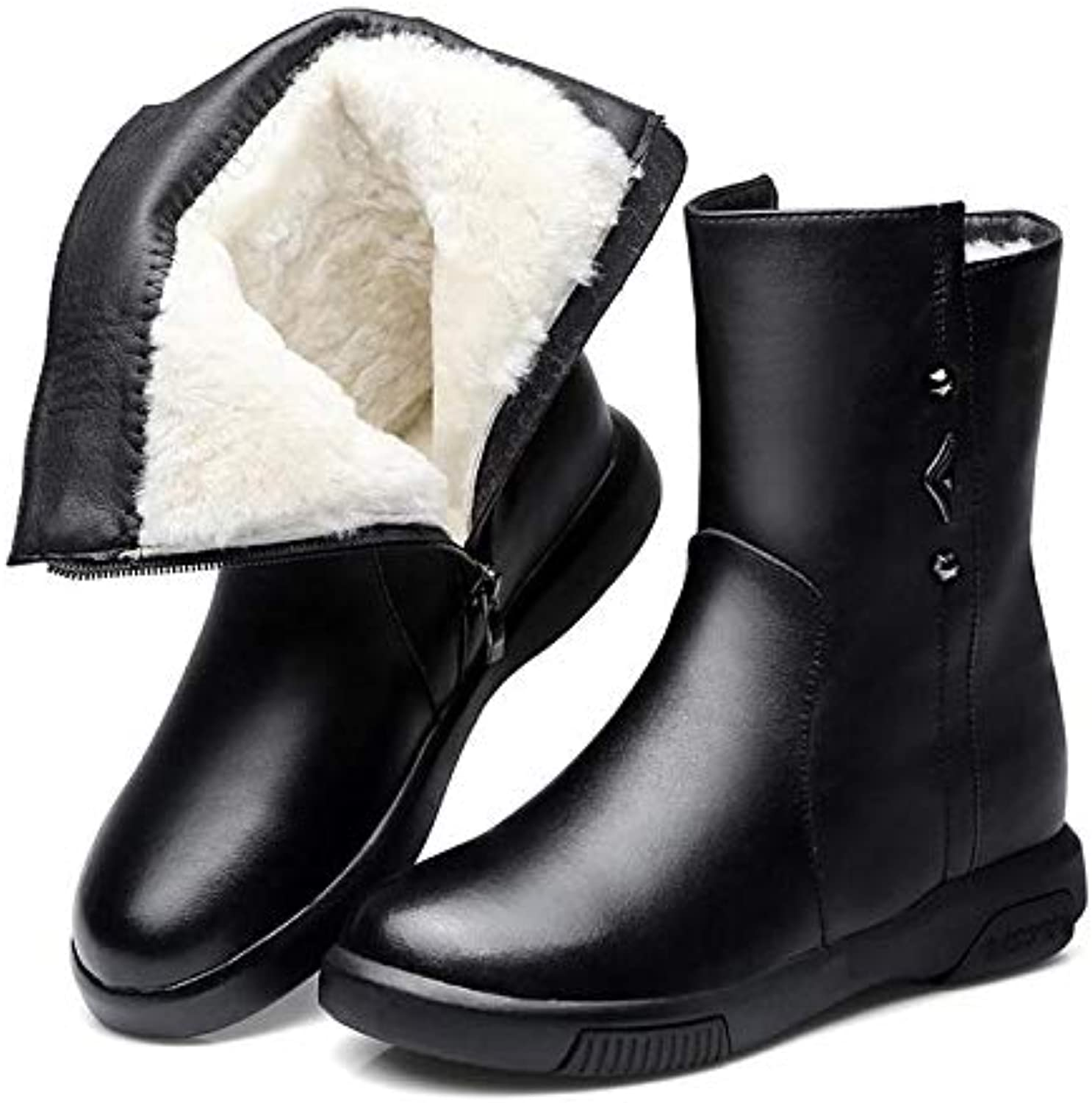 DDL- Snow Boots   2018 Besteselling Real Cowhide Leather Boots Flat Warm Comfort Wool shoes Women Boots Snow Boots Winter Martin Boots