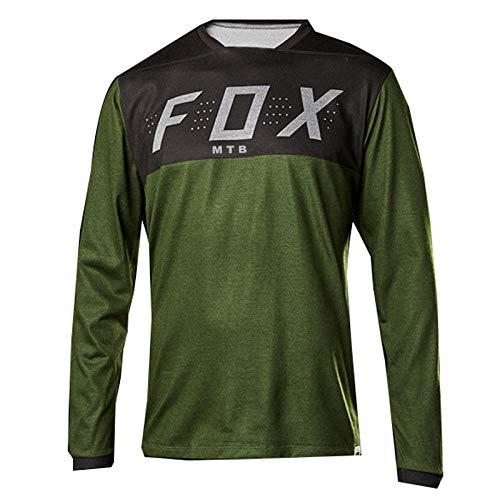 PYMNDZ 3 Stück,Men'S Fox Mtb Motocross Off-Road Jersey Downhill T Shirt Mountain Bike Enduro Jersey Mtb Mx Blue Long Sleeve Cycling Shirts-L
