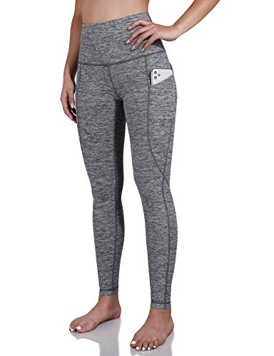 ODODOS Women's High Waist Yoga Pants with Pockets,Tummy Control,Workout Pants Running 4 Way Stretch Yoga Leggings with Pockets,CharcoalHeather,X-Large