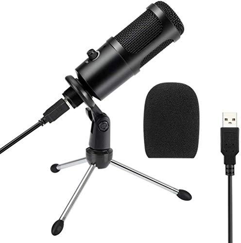 Micrófono condensador USB, micrófono condensador de PC con soporte de trípode para juegos, podcast, chat de Skype, vídeos de YouTube, voz y transmisión, compatible con iMac PC, portátil y Windows