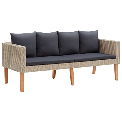 vidaXL Gartensofa 2-Sitzer mit Auflagen Zweisitzer Sofa Lounge Gartenbank Gartenmöbel Sitzgruppe Garten Garnitur Poly Rattan Beige