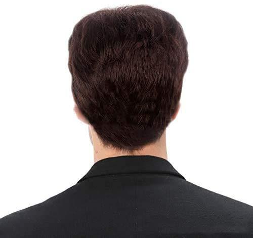 JIAFENG Hommes Perruque (pour Les Hommes ou Unisexe) Continue et Le Gel synthétique de Court Brun, Style Gentleman Britannique Un Coup d'oeil