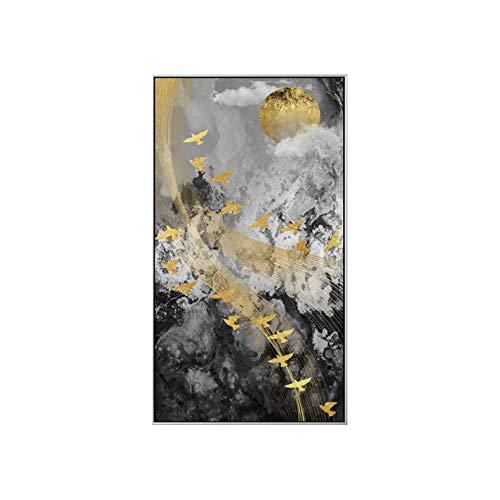 XUML Abstract Muziek Vogel in Sky Canvas Schilderen Betekenis Muurkunst Foto's voor Woonkamer Home Decor Hemel Posters en Prints HD 70x122cm(No Frame) A