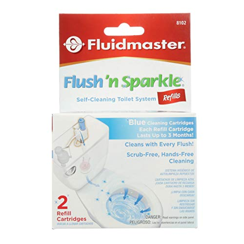 Fluidmaster 8102P8 Flush 'n Sparkle Automatic Toilet Bowl Cleaning System Refills, Blue 2-Pack