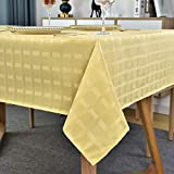 SASTYBALE Rectangle Tablecloth Shrink Resistant Table Cloth Spill Proof Tabletop Restaurant Dining Kitchen Cafe Banquets (Rectangle/Oblong, 60' x 120' (10-12 Seats),Gold)