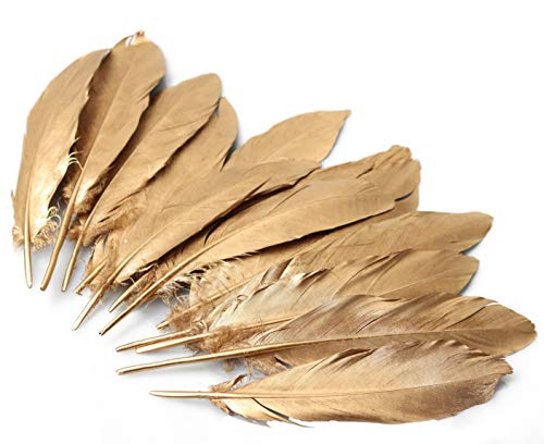 6-8 inches Golden Goose Feathers, Natural Double-Sided Sprayed Golden Goose Feather, Craft Plume for Decorate Clothing, Hair, Cakes, Festive, Weddings, Party, Pack of 30
