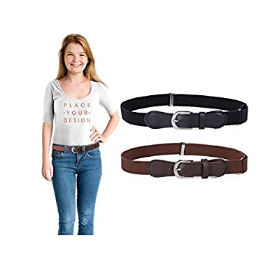 Kids Toddler Elastic Belt - 2 Pack Adjustable Stretch Belts for Girls Boys Leather Closure 1 Inch Wide Strap by WHIPPY(Black+Coffee,Suit Pants Size 22-31 Inches)