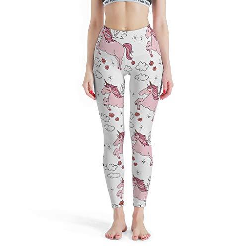 Gamoii - Leggings de Yoga para Mujer, diseño de Flores, Nubes, Rosa, Pajarita, Unicornio, Estampado, Pantalones de Deporte, Pantalones de Yoga, Cintura Alta, hasta el Tobillo, Leggins Blanco XL