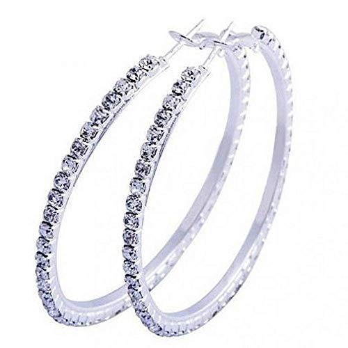 Oorbellen - ringen - cirkel - hangers - zilveren kleur - groot - vrouw - ringen - lichtpunten - elegant - diameter 4 5 cm - cadeau-idee - verjaardag - kerstmis strass