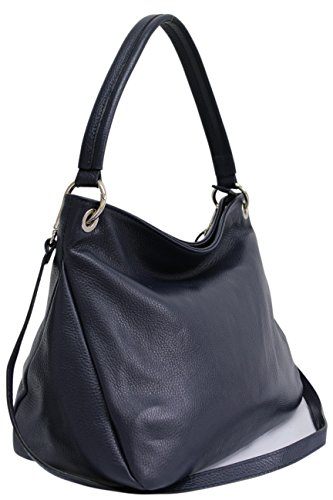 AMBRA Moda Damen echt Ledertasche Handtasche Schultertasche Beutel Shopper Umhängtasche GL002 Marineblau (Marineblau)