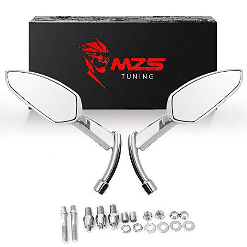 MZS Motorcycle Mirrors Chrome - Rear View Side Mirror 360 Degree Adjustment Blade Compatible with Touring Cruiser Spostster Bobber Chopper Cafe Racer Tracker Street Naked Road Bike