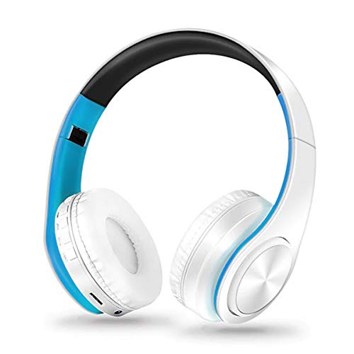 Bluetooth Headphones, Wireless foldable Headset Over Ear, Mic, Radio, Soft Memory Protein Earmuffs &Light Weight for Prolonged Comfort for Cell Phones PC TV PC (White Blue), Kids and adult love it!