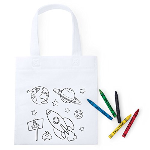 Fun Fan Line - Set of 20 Coloring Bags with colored crayons. Ideal for birthday gifts, communions, schools, kindergarten events and celebrations. Recess and lunch bags. (Planets design)
