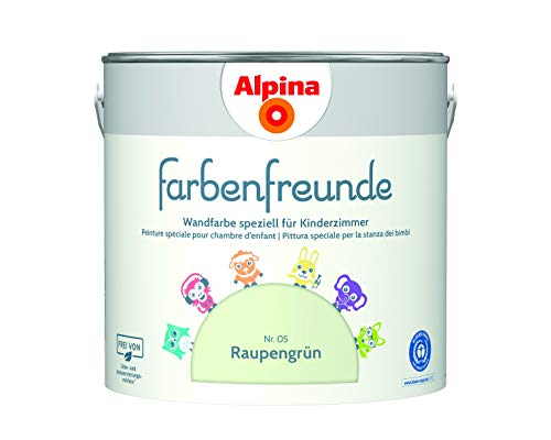 Alpina Farbenfreunde 2,5L Kinderzimmerfarbe Wandfarbe ( Nr.5 Raupengrün)