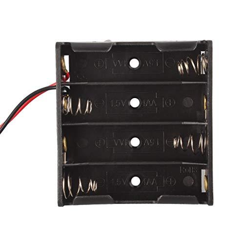 Caja de batería Caja de Soporte de Ranura para 4 Paquetes Pila de baterías estándar AA 2A Negro