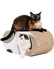 HIASU 猫 つめとぎ 爪とぎ トンネル 段ボール 大型 猫ハウス 猫ベッド (58×25.4×25.4cm)