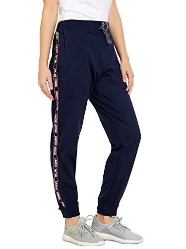 Maniac Women's Regular Fit Joggers (WMN-AW18-JOGGER-NAVY-TAPE-LIMITED-XL_Navy Blue_X-Large)