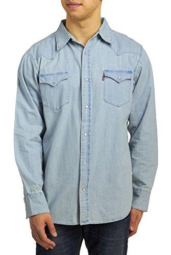 Levi's Men's Barstow Western Denim Snap Shirt, New Age Bleach, 2XLarge