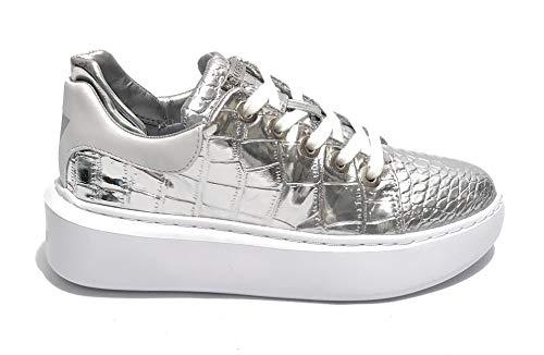 Guess Scarpe Donna Sneaker Braylin in Ecopelle Stampa Cocco Silver DS20GU02