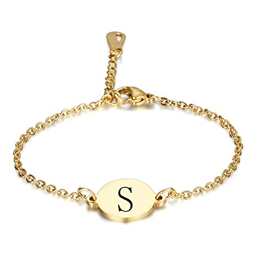 XQxiqi689sy Bracelet Bangle Mujeres Inglés Letras Redondo Encantador Titanium Acero Cadena Muñeca Brazalete Círculo Joyas Goldens
